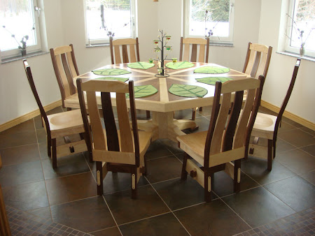 "72"" Diameter, 8 Sided Savoy Table with Custom Mixed Wood Top"