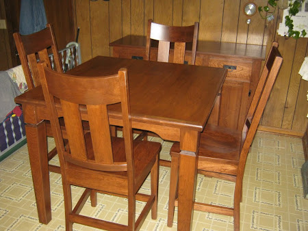 "42"" x 42"" Harvest Dining Table, Montrose Chairs and Mission Buffet in Wild Cherry"