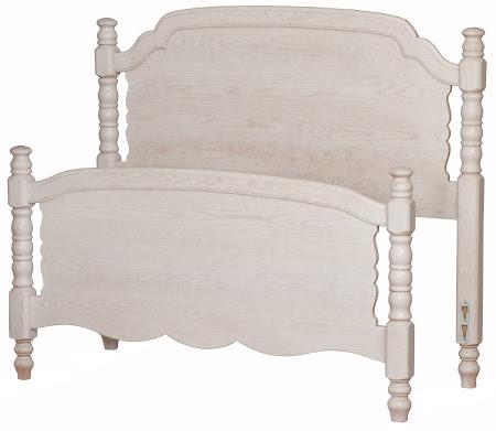 Farmhouse Bed Frame in Whitewash Oak