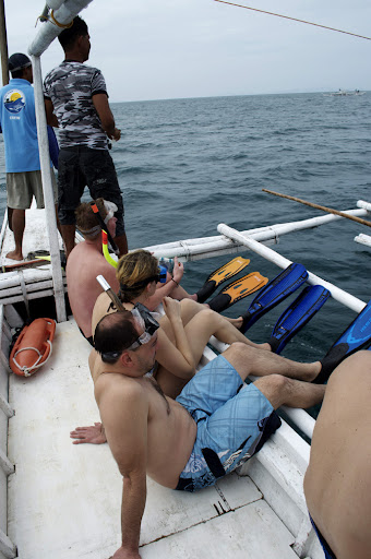 Passengers on a whaleshark search await on the right side of their banke for the signal to jump. Photo by Bobbi Lee Hitchon