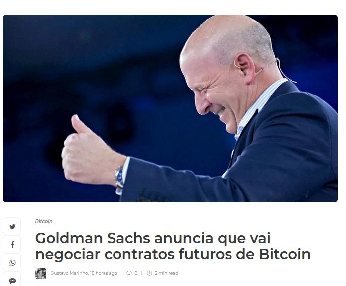 Goldman Sach anunciando negociar contratos de bitcoin