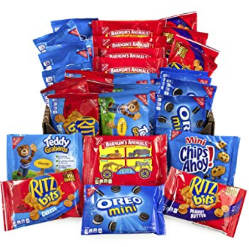 A pile of bags of snacks