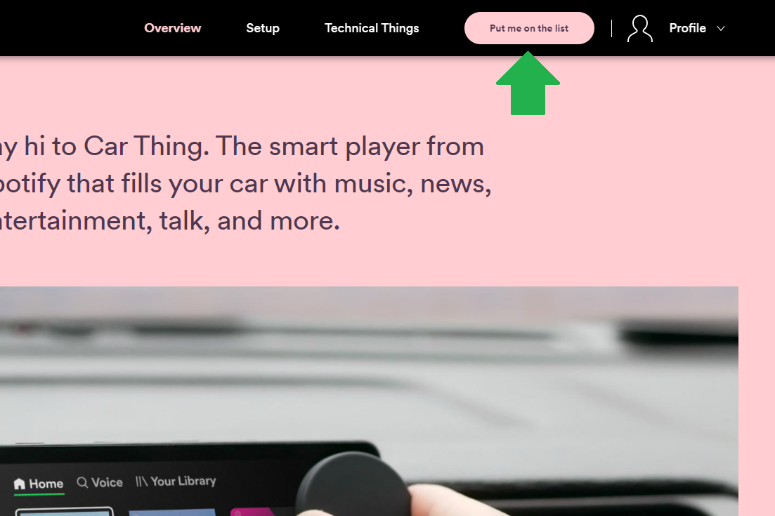 How to sign up for a free Spotify Car Thing