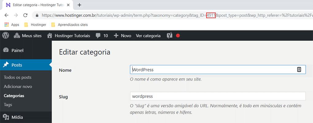 barra de endereços do navegador exibe id da categoria