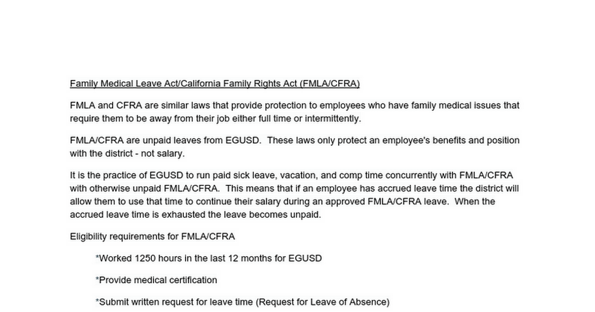 Family Medical Leave Act/California Family Rights Act (FMLA/CFRA ...