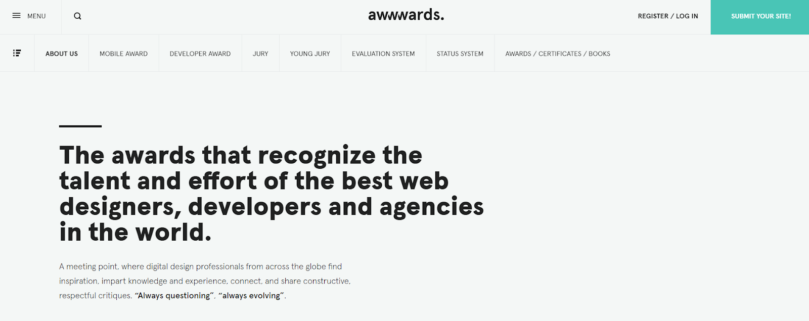 Awwwards homepage, website design ideas.