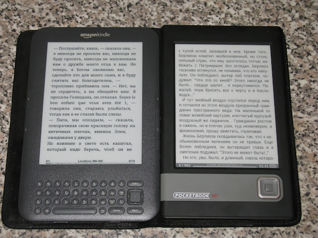 Экран Pocketbook 301+ vs. Amazon Kindle 3 Wi-Fi