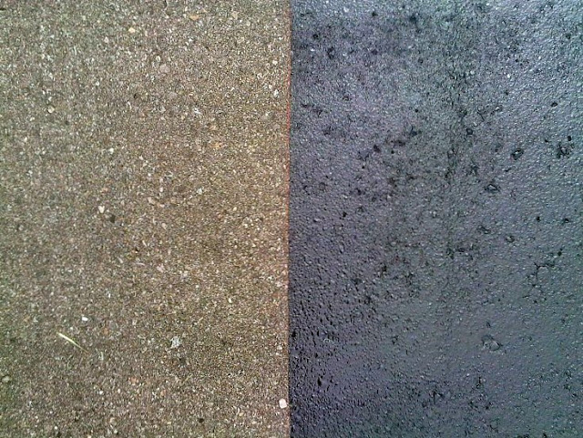 Asphalt Driveway Sealing Before and After Close-Up