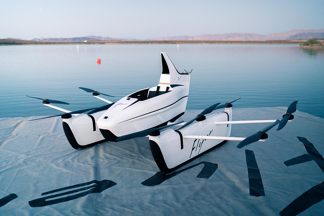 A single seater drone floating on water