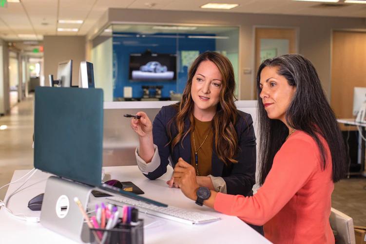 o que um consultor de ERP faz: duas mulheres em frente a um notebook