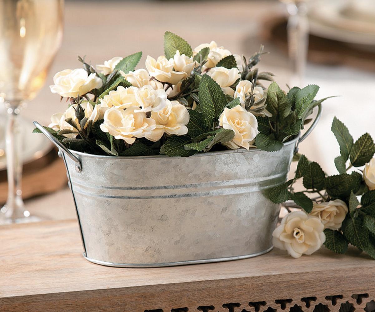 bucket of florals wedding table centerpiece