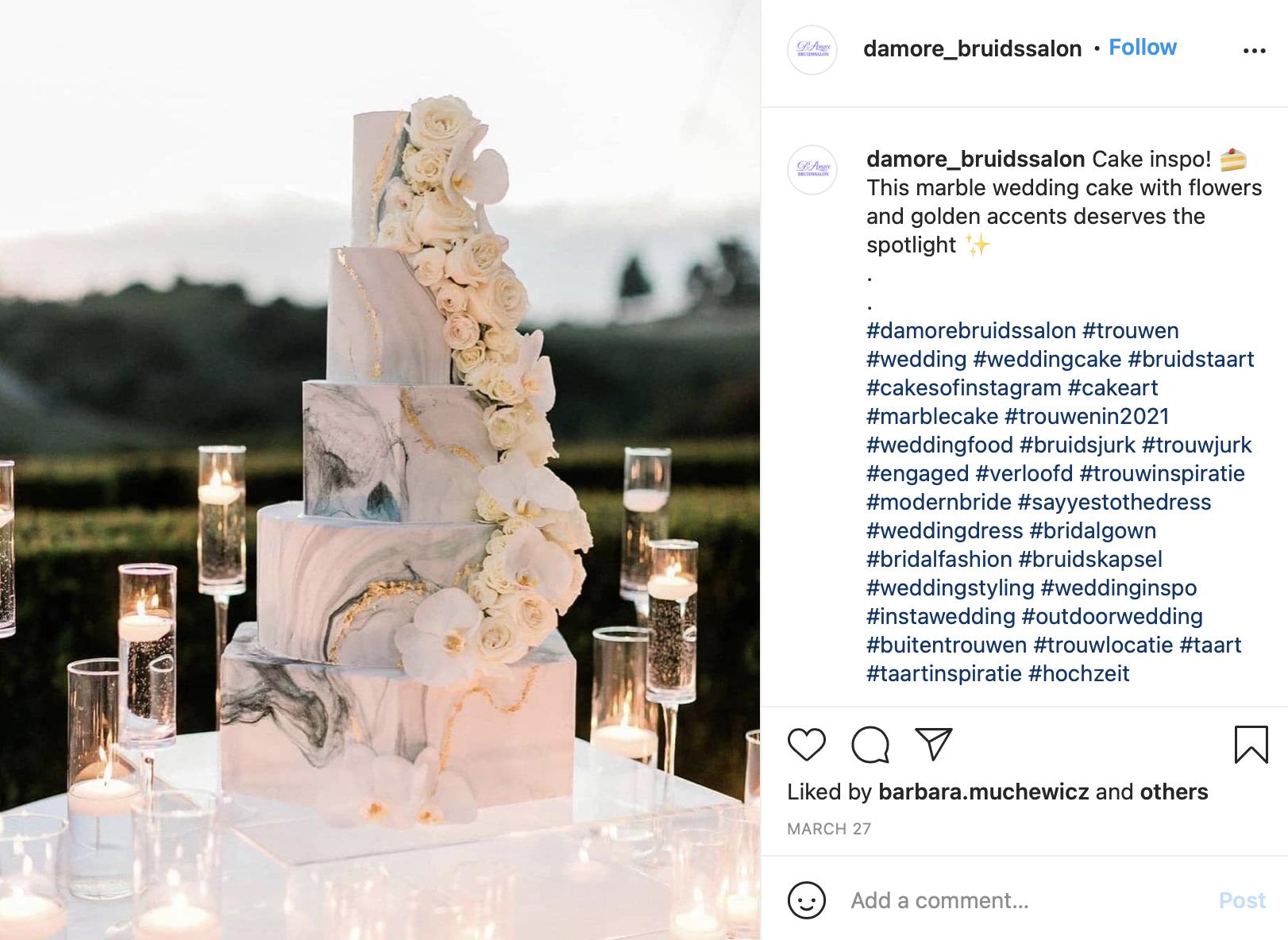 modern marble wedding cake