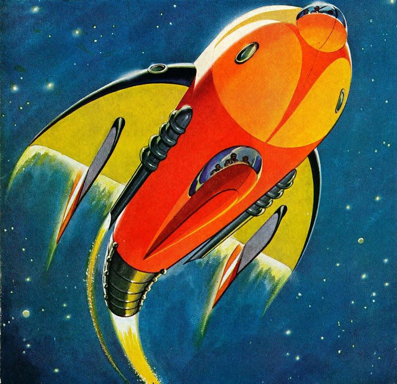 Rare Wonderful 1950s Space Art: Dark Roasted Blend: Retro Future: Space Art Update