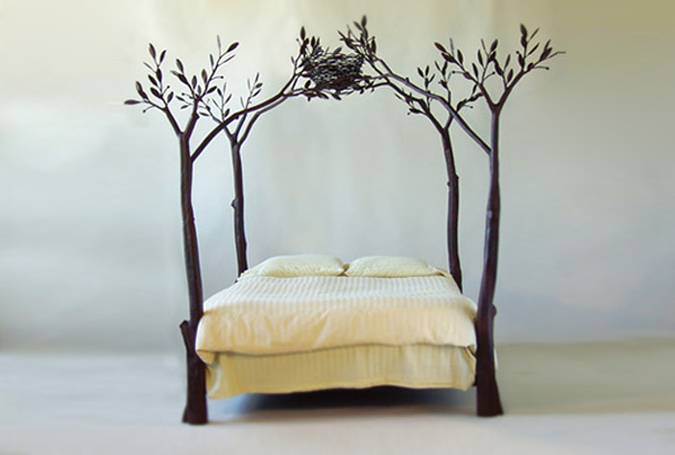 with this bed you can feel as though you were sleeping in the forest each leaf and tendril is hand forged and unique designer shaw lovell - Unique Bed Frame