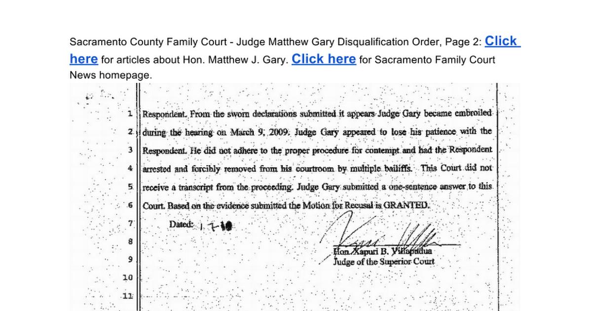 Judge Matthew J Gary Disqualified For Bias Order - Pg 2 -7498