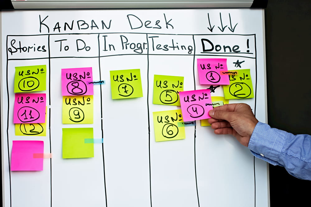 Homem colando um task tarefa no kaban desk quadro