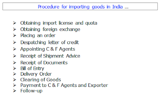 Import and export procedures