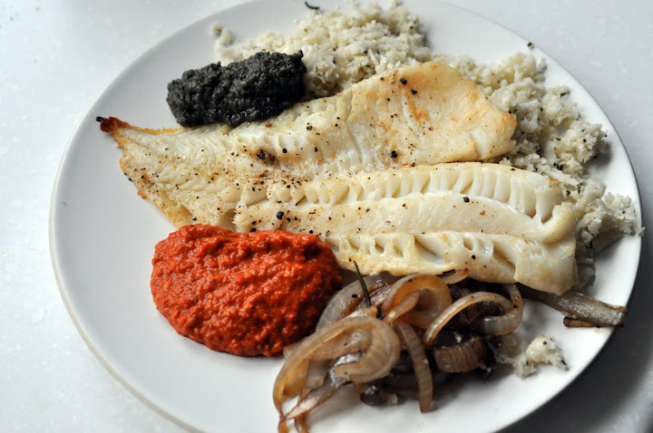 broiled cod and cauliflower rice with romesco and black olive sauces ...