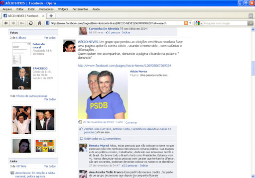 Aecio neves censura no facebook