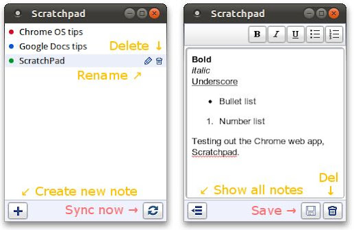 Scratchpad Menu and Notes