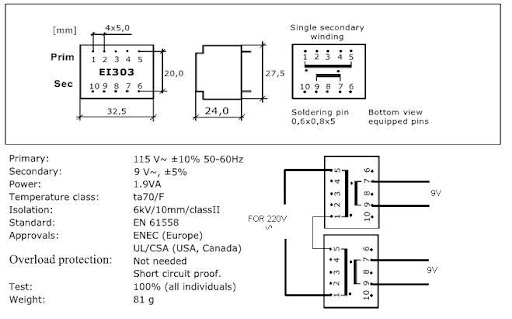 0,5VA 24V Safety-Transformer Printtrafo Gerth-Baureihe 152.xx
