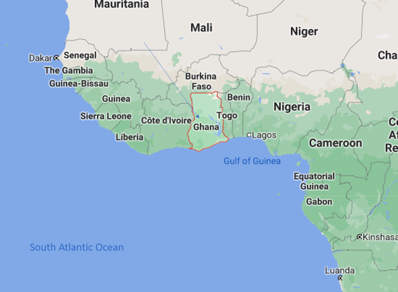 A Map of West Africa, highlighting the country of Ghana