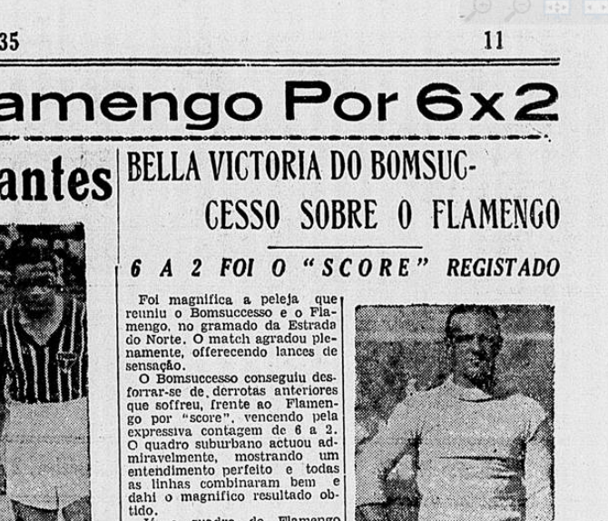 Uma das 30 maiores goleadas sofridas pelo Flamengo: Bonsucesso 6x2.