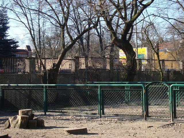 Mur od strony ul. Bukowskiej - widok z wnętrza zoo. Na pierwszym planie wybiegi kóz domowych i owiec bretońskich
