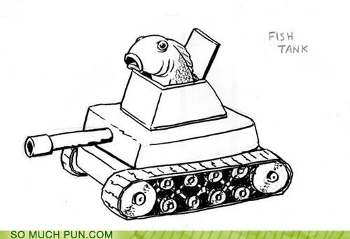 cartoon pun of a fish driving a tank: fish tank
