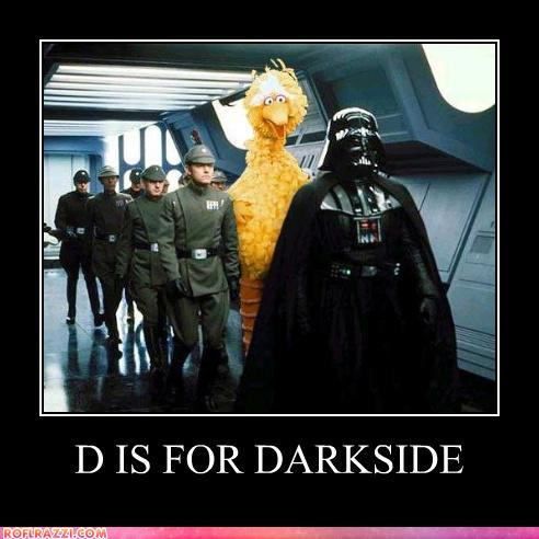 photo of big bird walking with Darth Vader and storm troopers