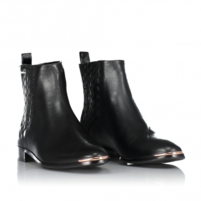 Liveca Elastic Detail Leather Ankle Boots