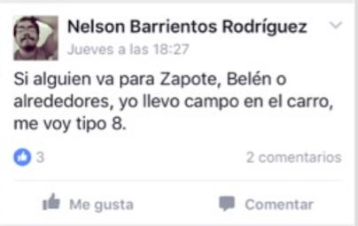 Barrientos publica en el grupo EstudiantesTEC para hacer viaje compartido de regreso a su hogar en Alajuela. (Tomado de Estudiantes TEC)