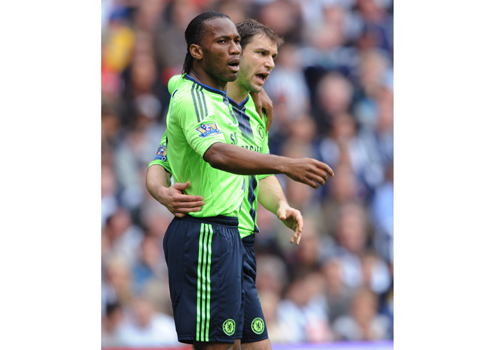 Didier Drogba with Branislav Ivanovic, West Bromwich - Chelsea