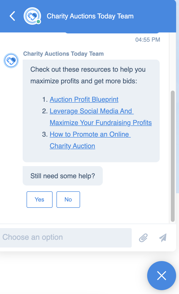 Chatbot providing support resources