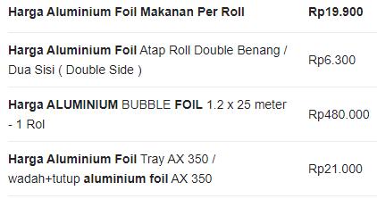 Aluminium Foil Makassar Harga Terbaru