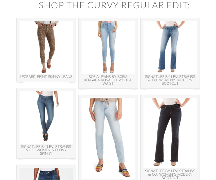 screenshot of six pairs of jeans that fit curvy women