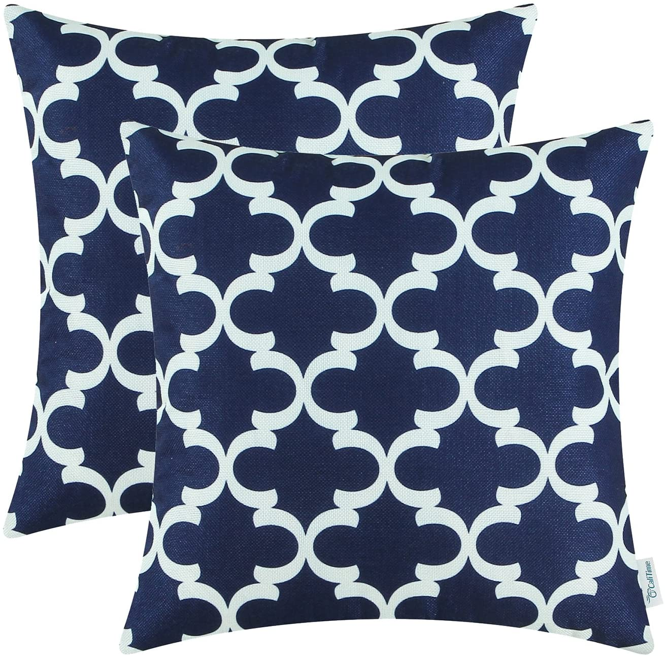 navy white throw pillow covers traditional pattern