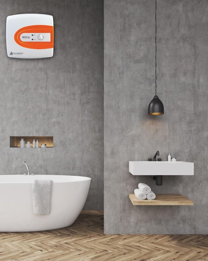 Bình nóng lạnh Olympic nổi bật trong không gian phòng tắm