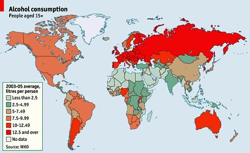 Карта потребления алкоголя в мире