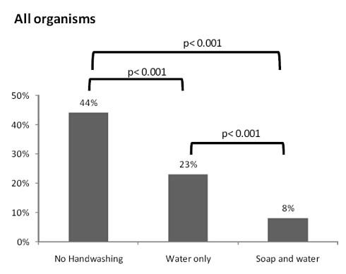 Вероятность обнаружения микроорганизмов на руках - немытых и мытых с мылом и без