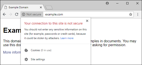 website HTTPS security warning