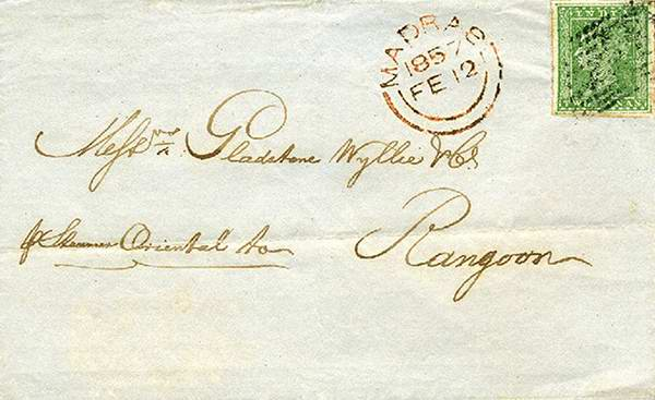 Old India Photos - Postage of Madras on 12-February-1857