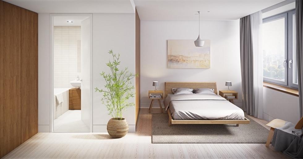 Phòng ngủ có nhà vệ sinh khép kính