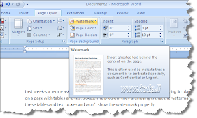 MS Word 2007- Watermark