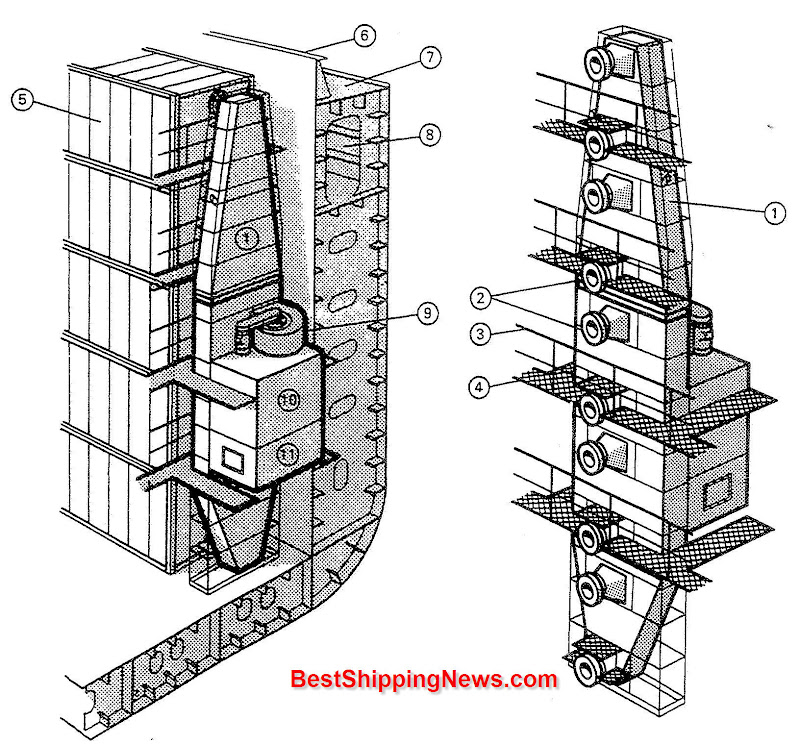 Cargo ship general structure equipment and arrangement for Structure container maritime