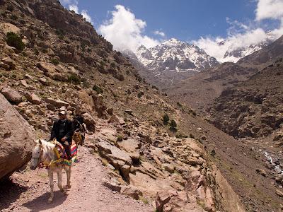 Avançant per la vall amb les muntanyes al fons