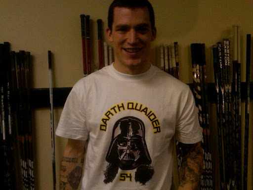 Andrew Ference wearing Darth Quaider