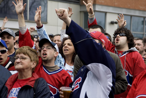 Montreal Canadiens fans protest outside Bell Centre