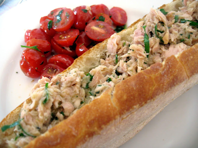 photo: an Italian tuna sandwich with tomato salad prepared with Pace ...