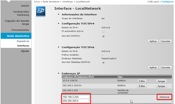 MEO Technicolor TG784n v3 Configurar Gama de IP e Mascara